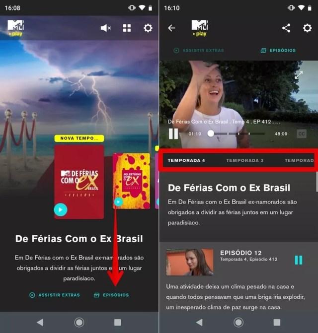 Selecione a temporada que você quer assistir no MTV Play — Foto: Reprodução/Helito Beggiora