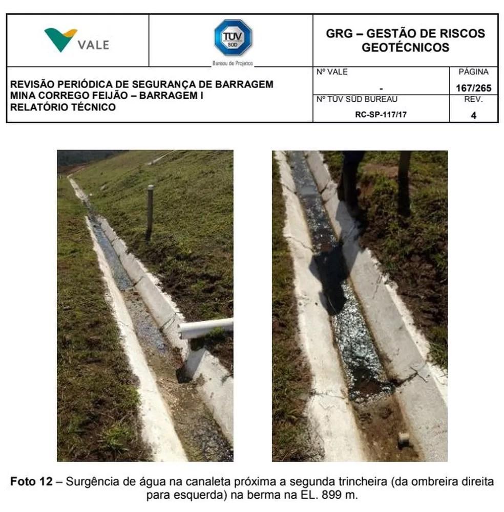 Imagens mostram trecho trincado em canaleta na barragem de Brumadinho — Foto: Reprodução/Tüv Süd