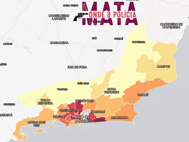 Mapa elaborado pela Justiça Global com dados do ISP mostra onde há mais autos de resistência no Estado do RJ (Foto: Reprodução/Onde a Polícia Mata)
