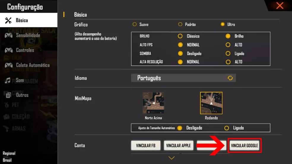 """Clique em """"Vincular Google"""" para conectar conta do Free Fire e Google — Foto: Reprodução/Leandro Eduardo"""