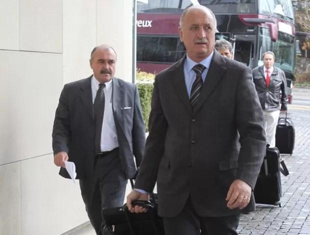 Luiz Felipe Scolari em Genebra com a Seleção (Foto: Mowa Press)
