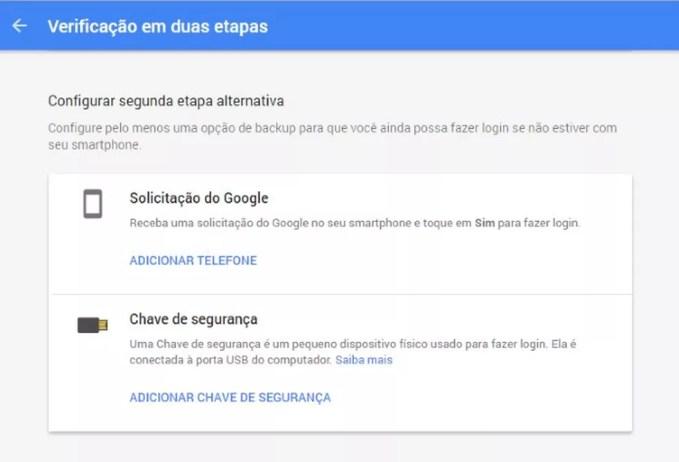 Verificação em duas etapas do Google (Foto: Divulgação)