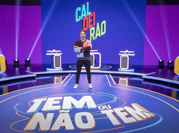 Marcos Mion no palco do novo Caldeirão — Foto: João Cotta / Globo