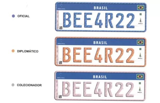 Novo modelo brasileiro de placa com padrão do Mercosul (Foto: Divulgação)