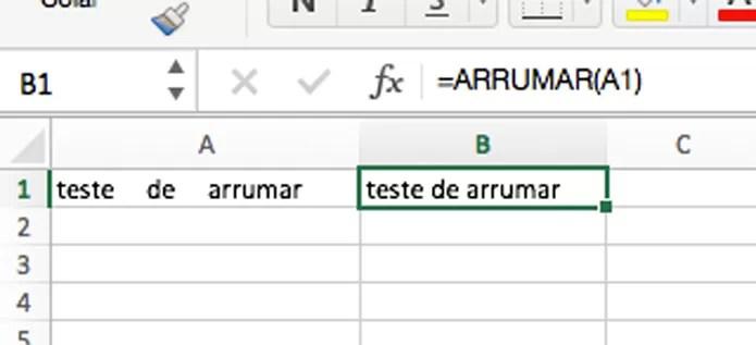 Fórmula para eliminar espaços entre palavras (Foto: Reprodução/André Sugai)