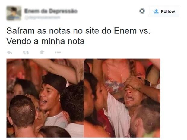 Até o craque Neymar foi alvo dos memes sobre as notas do Enem (Foto: Reprodução/Twitter/Enem da Depressão)