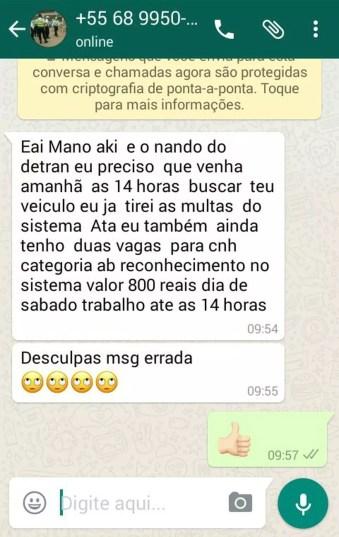 Mensagem foi enviada pelo WhatsApp para as vítimas (Foto: Reprodução/WhatsApp)