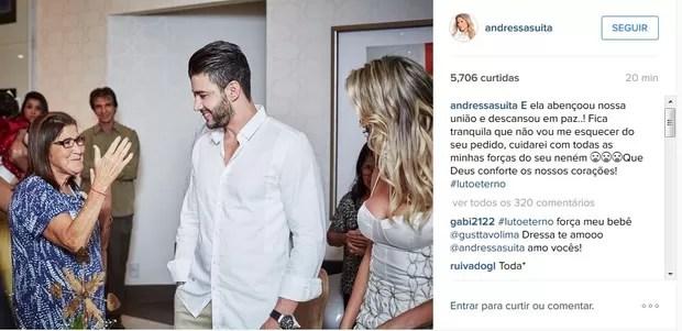 Post de Andressa Suita lamentando a morte da sogra, mãe de Gusttavo Lima (Foto: Reprodução/Instagram)