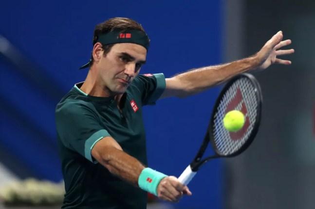 Roger Federer no ATP 250 de Doha — Foto: Mohamed Farag / Getty Images