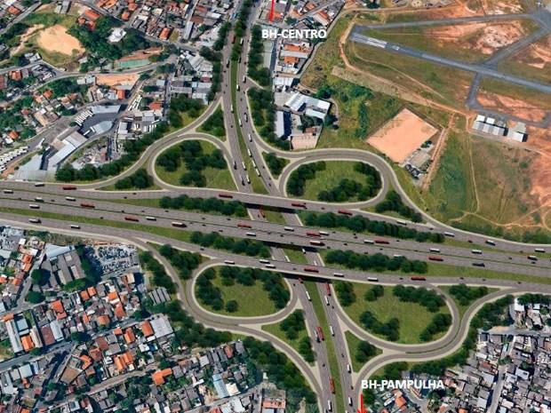 Veja como deve ficar o entrocamento do Anel Rodoviário com a Avenida Pedro II após a reforma (Foto: Reprodução / DER)