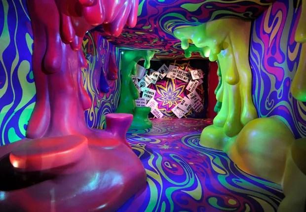 Instalação de arte dentro do Museum of Weed, em Los Angeles (Foto: John Sciulli/Getty Images for Weedmaps)