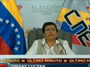 Anúncio do resultado das eleições na Venezuela (Foto: Reprodução/Telesur)