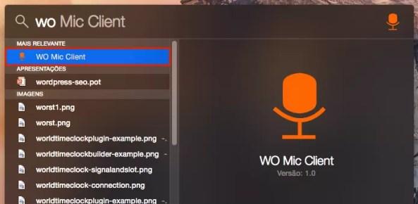 Executando o app WO Mic Client a partir do Spotlight do OS X (Foto: Reprodução/Edivaldo Brito)