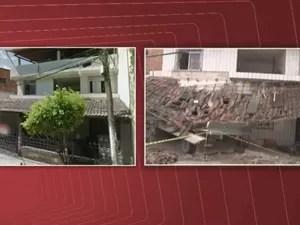 Antes e depois de imóvel atingido por caminhão em Praia Grande, em Salvador (Foto: Reprodução / TV Bahia)