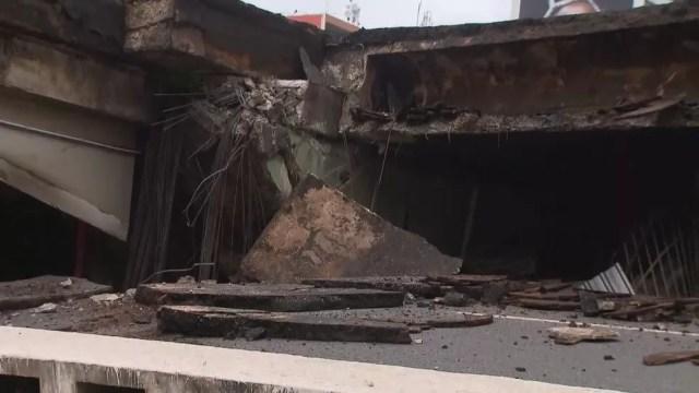 Viaduto no Eixão Sul desabou próximo á Galeria dos Estados, no centro de Brasília (Foto: TV Globo/Reprodução)