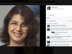 A mulher, Lais Khouri, foi encontrada morta dentro do apartamento (Foto: Reprodução / Facebook)