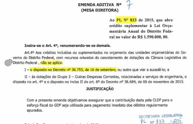 Emenda que previa exceção para créditos de emendas parlamentares, reapresentada em outro projeto de lei após veto (Foto: CLDF/Reprodução)