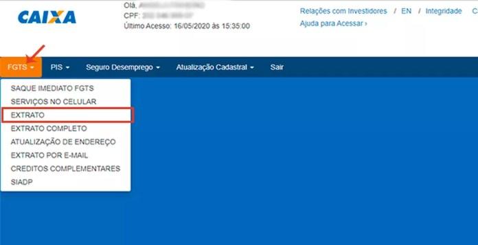 No site da Caixa, é possível consultar o extrato da conta FGTS — Foto: Reprodução/Caroline Doms