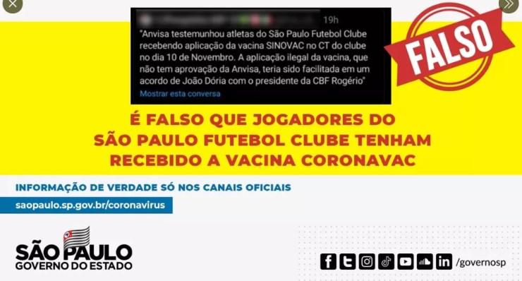 Governo de São Paulo diz que é fake news que jogadores do São Paulo foram vacinados — Foto: Reprodução