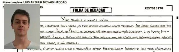 Trecho de redação de Luiz Arthur Haddad, Minas Gerais. (Foto: Reprodução/Divulgação)
