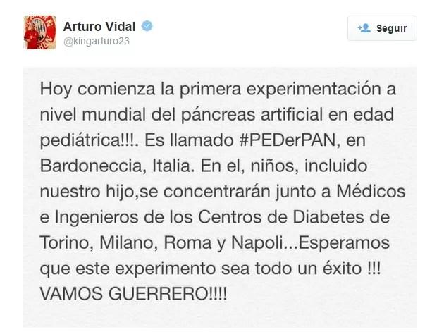 Vidal explica situação do seu filho (Foto: Twitter)