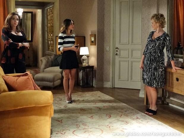 Mel descobre que Damáris está escondendo Bárbara (Foto: Sangue Bom/TV Globo)