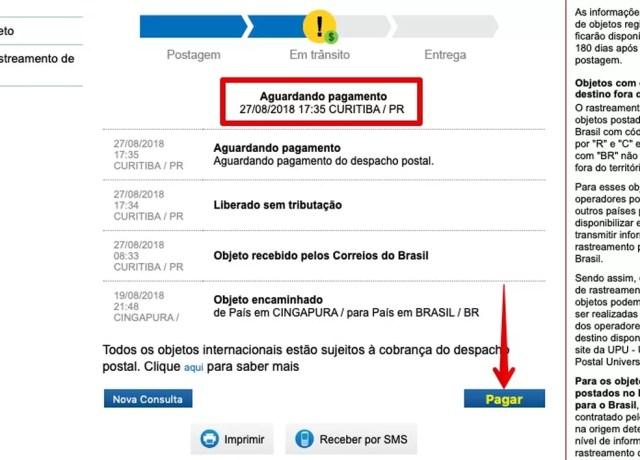 Verificando status do rastreamento (Foto: Reprodução/Helito Bijora)