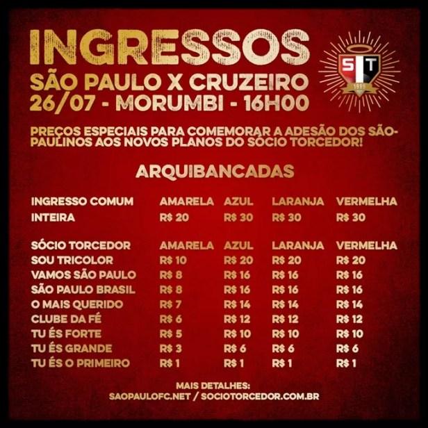 Ingressos jogo São Paulo x Cruzeiro (Foto: Site oficial do SPFC)