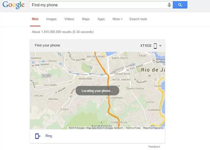Localização do telefone aparece em um mapa (Foto: Reprodução/Thiago Barros)
