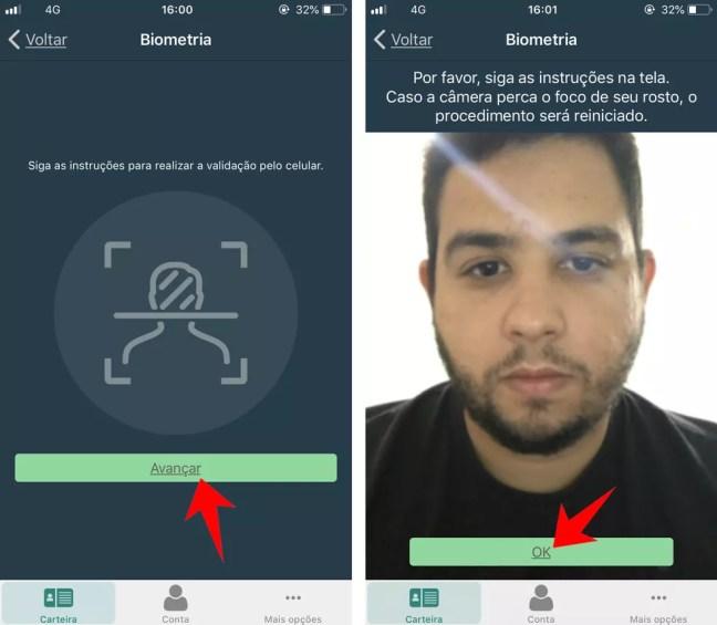 Confirmar a identidade do motorista com a biometria facial — Foto: Reprodução/Rodrigo Fernandes