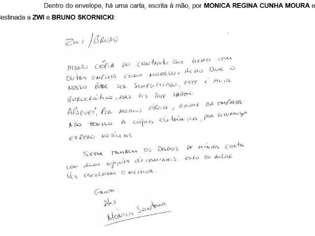 Bilhete escrito pela esposa de João Santana sobre dados de contas bancárias (Foto: Reprodução)