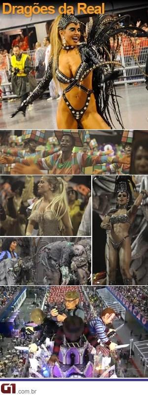 Dragões da Real - Escola foi a quarta a desfilar na primeira noite do Carnaval de São Paulo (Foto: G1)