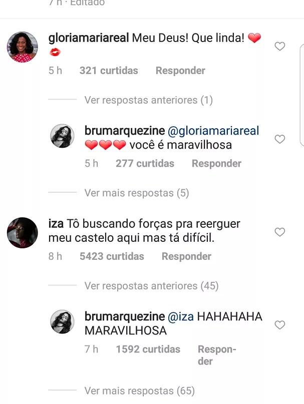 Comentários deixados para Bruna (Foto: Instagram/Reprodução)