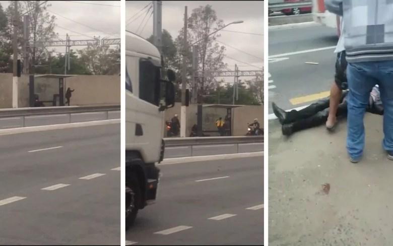 Fotos a partir de vídeo feito por celular mostra flagrante de homem esfaqueando ex e amiga e depois sendo contido e morto por pessoas que passavam pelo ponto de ônibus (Foto: Reprodução)