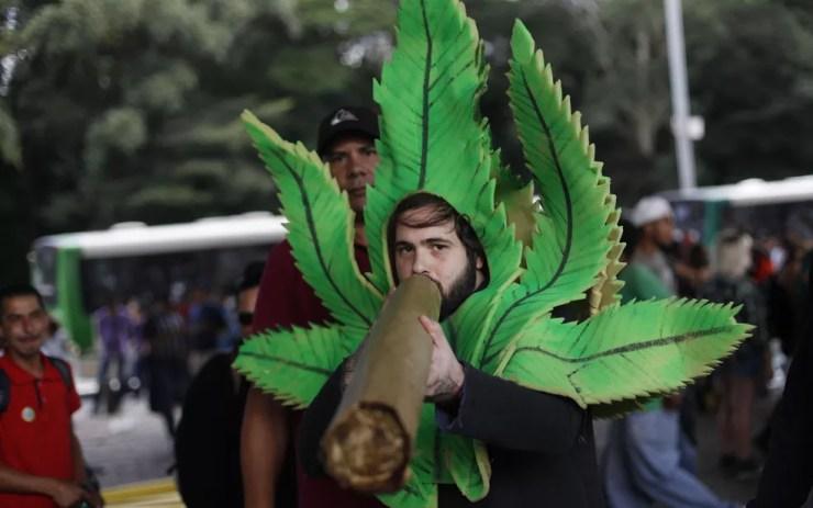 Manifestante fantasiado de folha de maconha na Paulista (Foto: Leonardo Benassatto/Framephoto/Estadão Conteúdo)