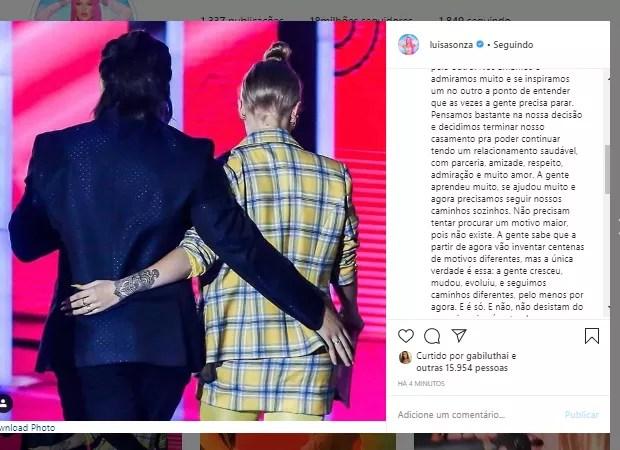Anúncio da separação de Whindersson Nunes e Luísa Sonza (Foto: Reprodução/Instagram)