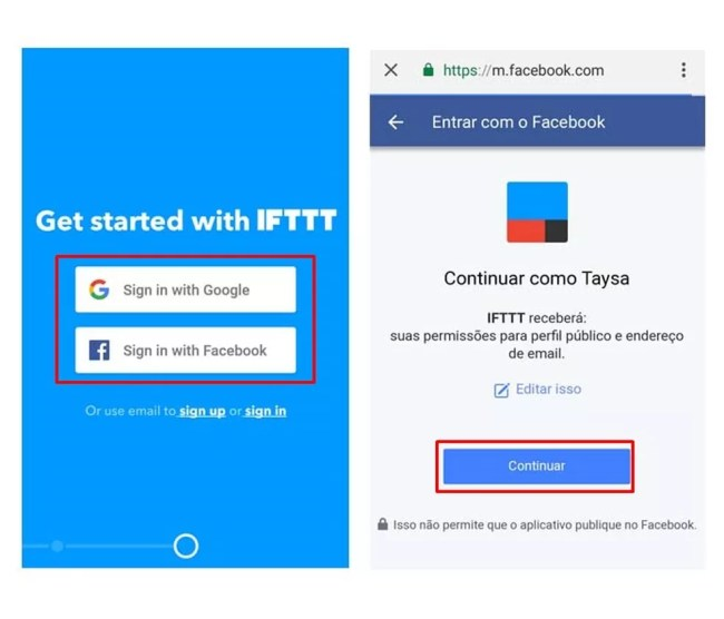 Caso esteja acessando o IFTTT pela primeira vez, realize o cadastro (Foto: Reprodução/Taysa Coelho)