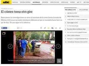 Jessica Lovatto jovem Paraguai jornal ABC Color (Foto: Reprodução/ABC Color)