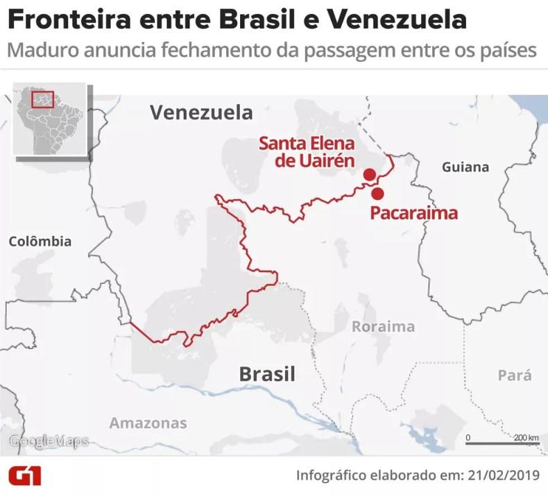 Fronteira entre Brasil e Venezuela — Foto: Rodrigo Sanches/G1