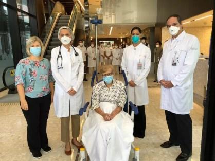 Gina tem 97 anos e ficou internada com coronavírus em SP — Foto: Rede D´Or/Divulgação