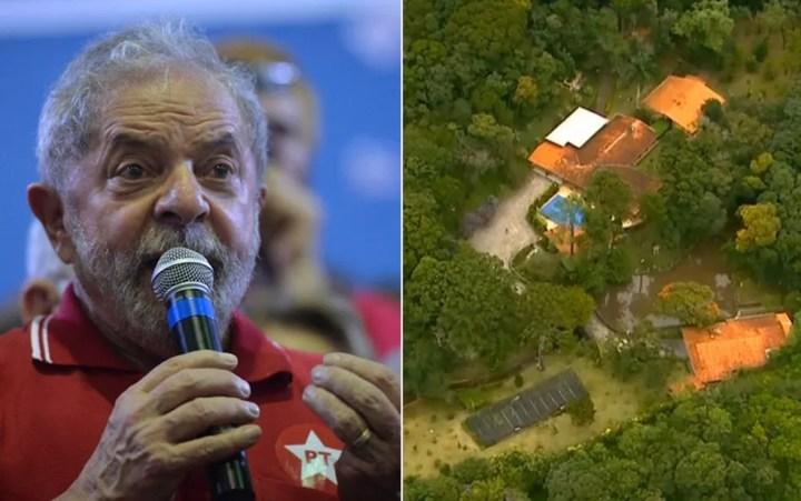 Defesa de Lula quer que ação envolvendo sítio de Atibaia seja redistribuída para São Paulo — Foto: Nelson Almeida/AFP e Reprodução/TV Globo