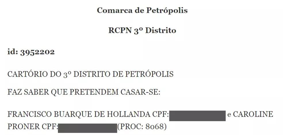 Intenção de casamento de Chico Buarque e Carol Proner foi publicada no Diário da Justiça do Rio no dia 19 de agosto — Foto: Reprodução