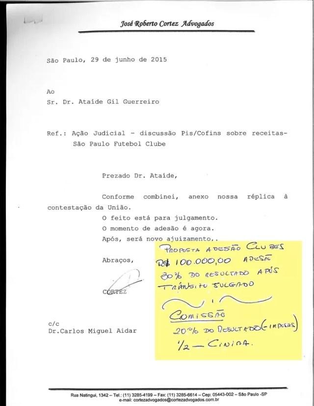 Correspondência Advogado Ataíde São Paulo (Foto: Arte: GloboEsporte.com)