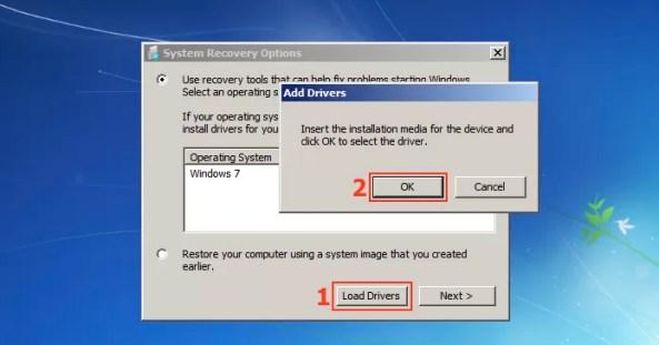Utilizando a opção Load Drivers para acessar os arquivos do Windows (Foto: Reprodução/Edivaldo Brito)
