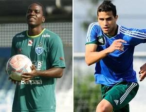 Marcelo Nicacio, do Paysandu, com o Alan Kardec, do Palmeiras (Foto: Editoria de arte / Globoesporte.com)