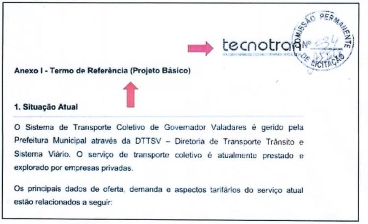 Documento mostra que edital de licitação de Governador Valadares foi elaborado pela Tecnotran — Foto: Reprodução