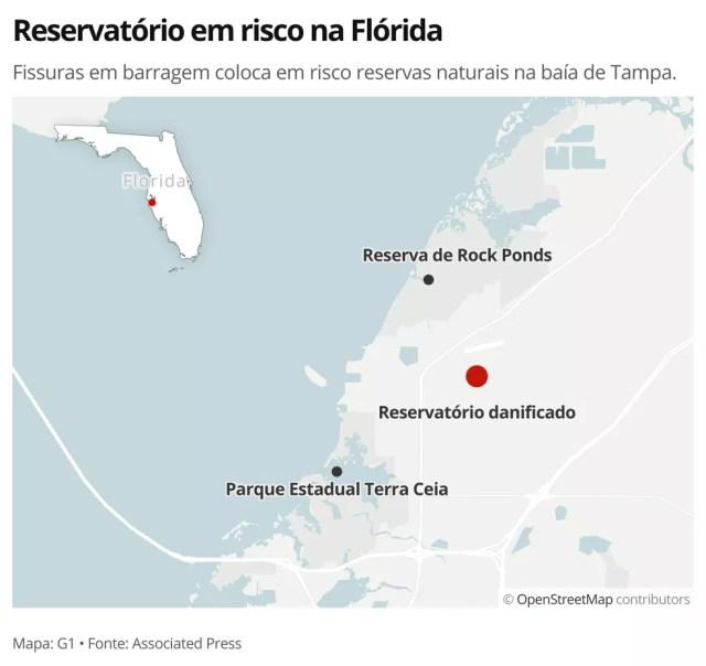 MAPA - Reservatório em risco na Flórdia — Foto: G1 Mundo