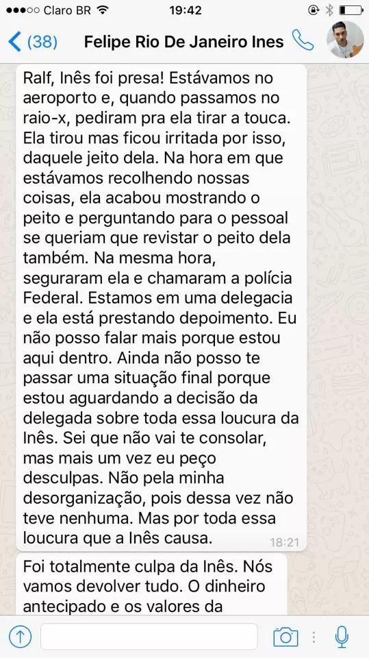 Mensagem do produtor de Inês Brasil para organizador da festa em que ela se apresentaria neste sábado, 18 (Foto: Reprodução/Facebook)