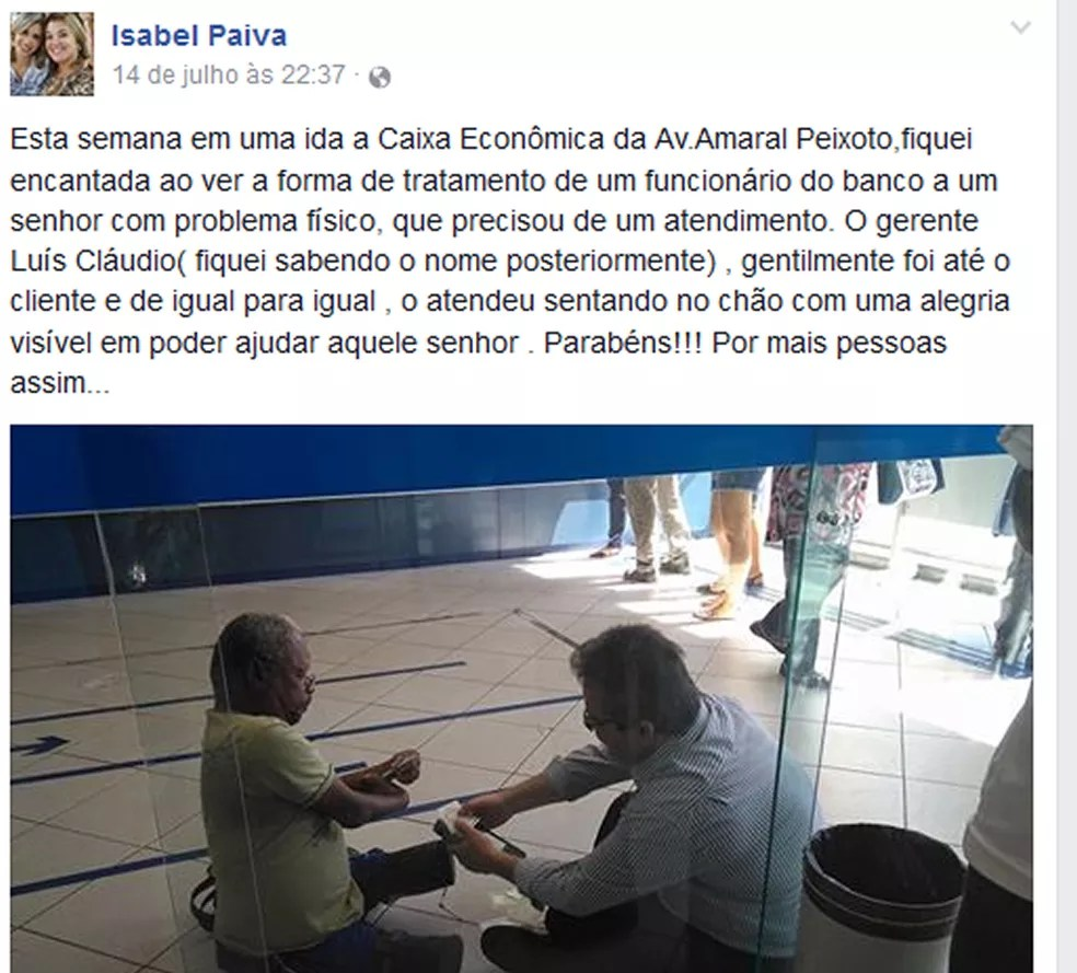 Postagem de professora mostrando bom exemplo de gerente bancário viralizou (Foto: Reprodução/Facebook)
