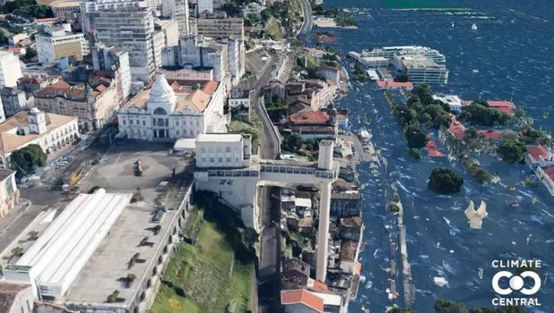 In the simulation of what could happen in Salvador if the temperature rises by 3 °C, the marina and Mercado Modelo region of the city would be completely taken over by water (Photo: CLIMATE CENTRAL via BBC)